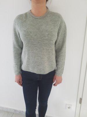 Mango Crewneck Sweater silver-colored mixture fibre