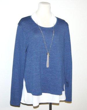 Damen Pullover mit Blusenkragen & Kette Gr.44