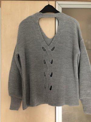 Damen Pullover Pulli Gr 38 Grau Miss Selfridge Sexy Rücken Neu