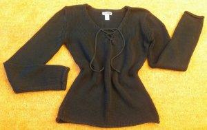 Damen Pullover strick figurbetont Gr.36/38 in Schwarz von Flash Lights