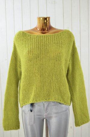Damen Pullover Strickpullover Grobstrick Grün Acryl Mohair U-Ausschnitt Gr.M