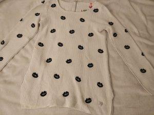 Damen Pullover von Lieblingsstück Gr. S weiß mit Kussmund Applikationen