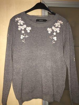 Damen Pullover von Vero Moda Gr L Grau mit rosa Blüten Neu