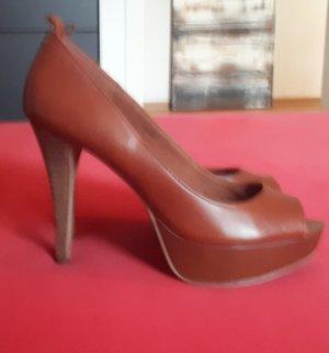 Damen Pumps High Heels braun offen Leder Gr. 37 Esprit NEU
