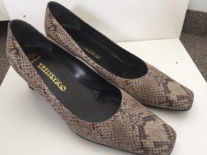 Chaussure à talons carrés beige clair-gris clair