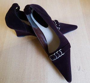 Damen Pumps Schuhe Keilabsatz Größe 39 Leder