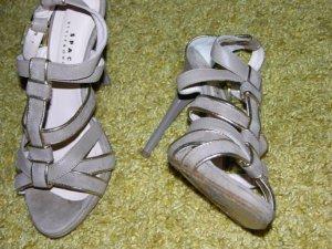 Damen Riemchen Sandaletten aus Vollleder in Taupe Gr.37