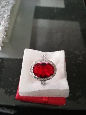 Anello argento-rosso neon