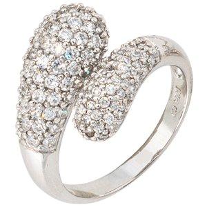 Damen Ring 925 Sterling Silber rhodiniert mit Zirkonia - Silberring