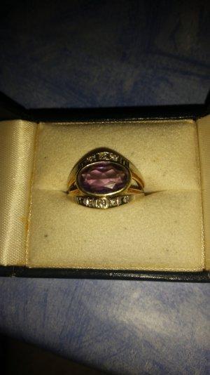 Damen Ring Gelbgold Amethist Diamanten