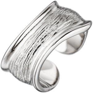 Damen Ring offen 925 Sterling Silber rhodiniert mit Struktur - Silberring