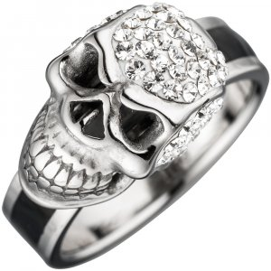 Damen Ring Totenkopf Edelstahl mit Swarovski-Elements