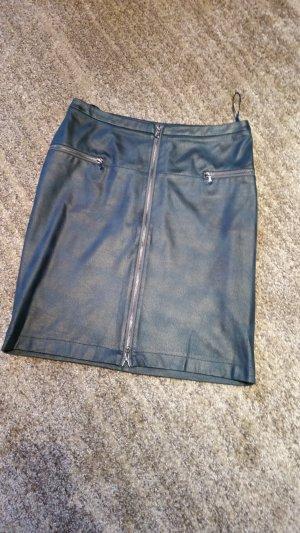 Adler Leather Skirt petrol-dark green