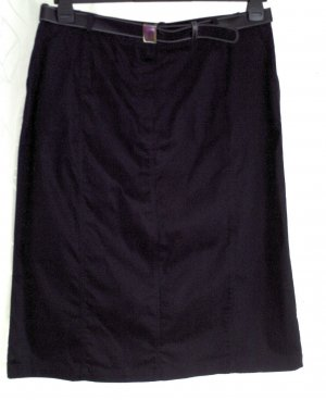 Damen Rock Bleistiftrock Jeansrock Stretch mit Gürtel uni schwarz