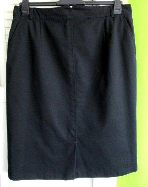 Damen Rock schwarz uni Klassiker klassisch 2 Einschubtaschen seitlicher Dehnbund