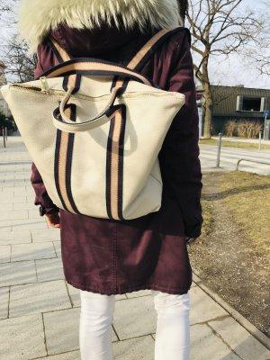 Damen Rucksack Tragerücksack Leder beige Handtasche neu 2 in 1