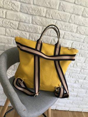 Damen Rucksack Tragerücksack Leder Handtasche neu 2 in 1 in gelb