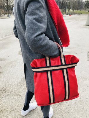Damen Rucksack Tragerücksack Leder rot Handtasche neu 2 in 1