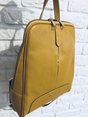 Damen Rucksack Tragerücksack Leder senf Schultasche neu