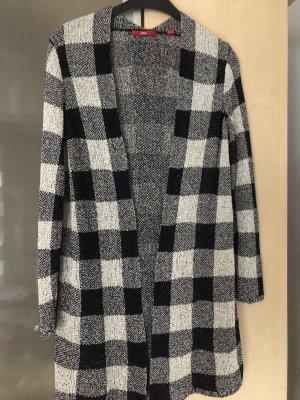 s.Oliver Gilet long tricoté noir-blanc