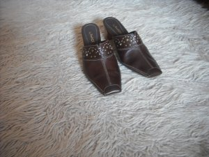Damen Sabots Clogs Sandalen Sandaletten Pantoletten SlipOn Leder br.37neu