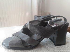 Strapped High-Heeled Sandals dark grey