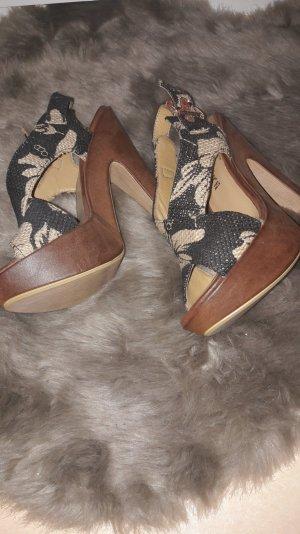 Vera Pelle Platform Sandals dark blue