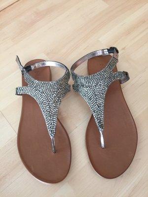 Damen Sandalen von Inuovo 6197 401902 Silber mit Pailletten besetzt Gr 40