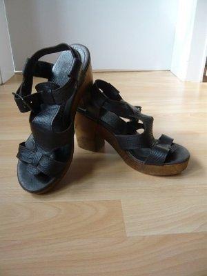 Damen-Sandalette,Marke: Alba Moda, Echtleder, Gr. 38, dunkelbraun, neuwertig
