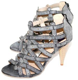 High Heel Sandal black-light grey imitation leather