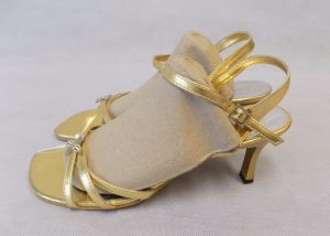Strapped High-Heeled Sandals gold-colored synthetic