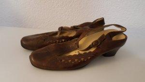 Sandalo con cinturino e tacco alto marrone-nero-marrone-rosso Pelle