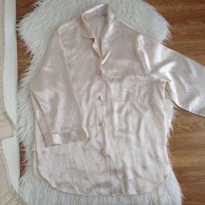 Damen Satin Pyjama 36 38 S Creme Beige Seiden - Optik Schlafanzug Lingerie