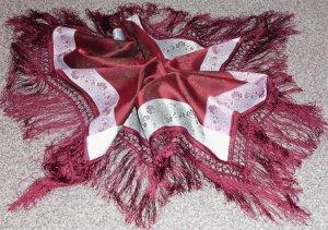Damen-Schaltuch, weinrot mit Rosenmuster, ca.70x70cm / Polyester