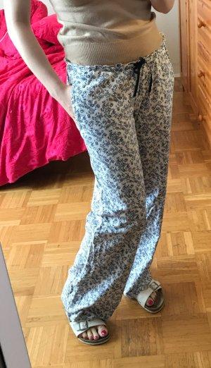 Damen Schlafhose H&M Gr. XS S 34 36 Pyjama Sleepwear weiß Baumwolle