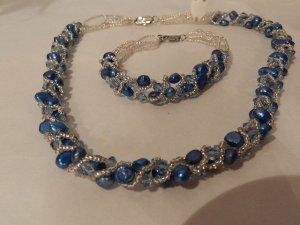Damen Schmuckset - Kette und Armband - Blau/Silber - Neu
