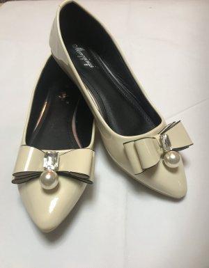 Damen Schuhe Ballerinas mit Schleife und Perle Creme  Weiß Neu 40