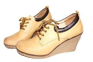 Damen Schuhe Boots Keilabsatz 41 Karamell Alt Braun Used Look