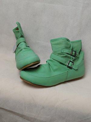Muse Bottines plissées vert menthe