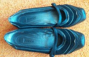 Ballerines à lacets noir-argenté faux cuir