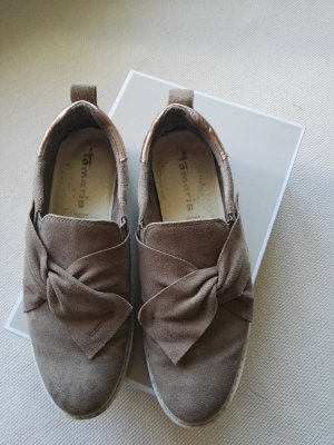 Tamaris Slip-on Shoes beige leather
