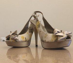 Damen Schuhe MENBUR  Gr 37  High Heels   Stoff Beige