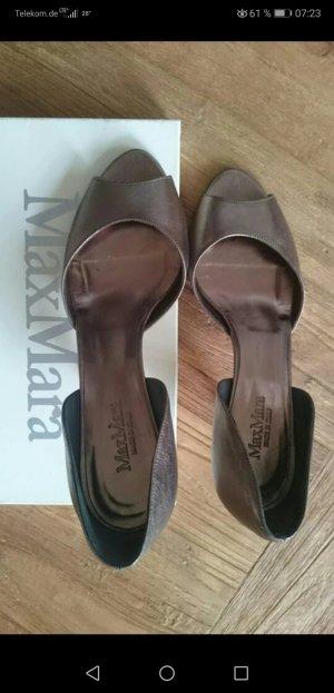 Damen Schuhe peep toe pump in gold by Max Mara Gr 39