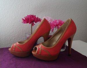 Damen Schuhe Peeptoes High Heels GRÖSSE 37 / Farbe rot-braun