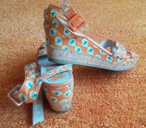 Young Spirit Platform High-Heeled Sandal apricot textile fiber