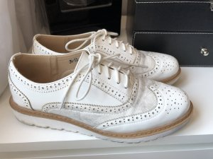 Flats blanco-color plata