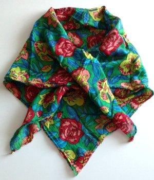 Damen Schultertuch quadratisch grün bunt Blumen