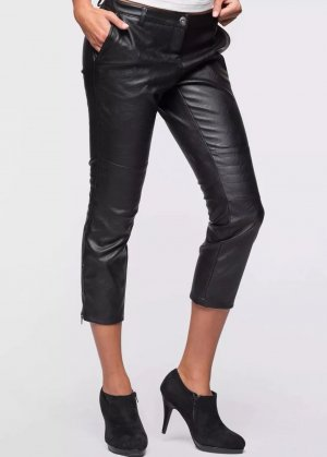 Damen sexy Lederhose 34 / 36 mit Reißverschluss 7/8 Länge