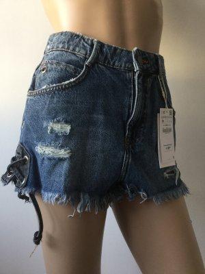 Damen Sexy Ripped Jeans Shorts mit Hohem Bund von Zara Gr.36