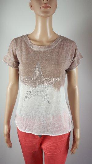 Damen Shirt asymetrisch mit Strass Stern beige creme meliert Größe 40